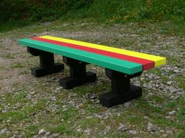 Junior 3 Seater Multicoloured Tees Bench - Park/Garden/Recreation area - No back - Recycled Plastic image