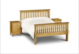 Pine Bed Frame  As handsome as they come, this solid pine bed frame has a classic shaker style to it, with strong angular features and a beautiful finish that shows off the natural grains of the pine wood. With a solid pine slatted base, this bed is incredibly...