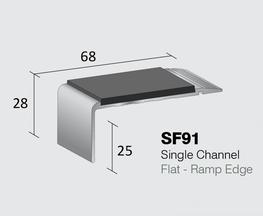 Standard Gauge Aluminium Stair Nosing  Single Channel - Flat  Internal drop: 25mm  Stock Lengths: 2.44m, 2.75m & 3.2m    Also available cut to size, drilled & undrilled  & Pre packed (Secret Fixings) 20 lengths x 1.22m...