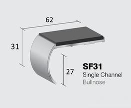 Standard Gauge Aluminium Stair Nosing  Single Channel - Bullnose  Internal drop: 27mm  Stock Lengths: 2.44m, 2.75m & 3.2m   Also available cut to size, drilled & undrilled  & Pre packed (Secret Fixings) 20 lengths x 1.22m...