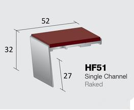 Aluminium Stair Nosings: Heavy Duty Gauge  Single Channel - Raked  Internal drop: 27mm  Stock Lengths: 2.44m, 2.75m & 3.2m   Also available cut to size, drilled & undrilled  & Pre packed (Secret Fixings) 20 lengths x 1.22m...