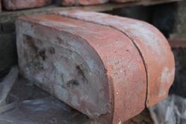 This brick is just one example of the many special bricks we have in stock in our yard.  this bull nosed brick is reclaimed from Selly oak hospital....
