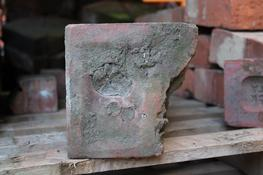 "This is a very rare and decorative Clay Brick - would look great in any wall!  Terracotta with a Flower and Foliage design  Dimensions: 12"" wide x 6 ¾"" deep x 6¾"" high..."