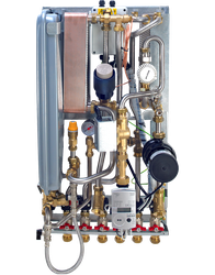 The Type 3 CIU offers indirect connection between primary and secondary heating circuits using a plate heat exchanger to provide hydraulic separation. The Type 3 has a second plate heat exchanger for the production of domestic hot water....