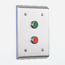 Flush Mounted Pharma Push-Button Enclosure with Stop & Start Switches - Electrix International Ltd