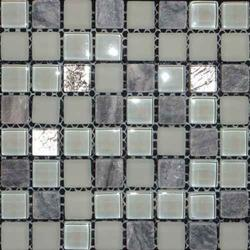 Stone Crystone CS007 Shading = V2 – Slight Variation  A Grey Stone and Glass Mosaic Blend Suitable for Internal/Indoor Floors and Walls....