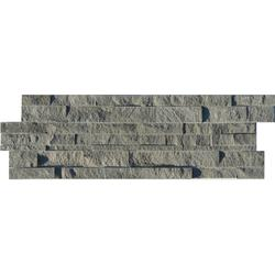 Stone Sah Grey Shading = V2 – Slight Variation  A Grey Rectangular Split-Face Natural Stone Mosaic Suitable for Internal/Indoor Walls Only....