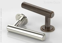 Lever handle on round rose....