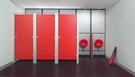 Floor-mounted extruded satin-anodised aluminium pilasters for strength. Solid laminate doors & partitions. Option for anti-drill, stainless-steel sheet facings to centre section of partitions. Extruded aluminium headrail for rigidity. Choice of functional sati...