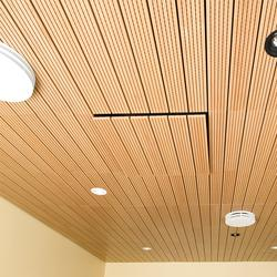 """WoodSolo-T Bring the look of a custom, linear wood ceiling to your projects, while with the ease and accessibility of 2x2 ceiling panels.  Decoustics' Solo-T wood veneered ceiling panels mount seamlessly to standard 15/16"""" heavy-duty grid.  A simple lift..."""