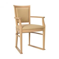 Ardenne dining chair with arms and skis in Cream faux leather vinyl image