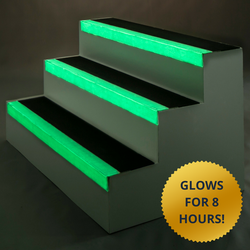 A glow in the dark stair tread which absorbs light in the day, and emits light at night for up to 8 hours....