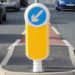Our socketed, rebound keep left bollard has a 300mm signface to alert drivers of junctions and traffic islands. Proven passively safe to BN EN 12767 standard with a quick and easy bollard replacement....