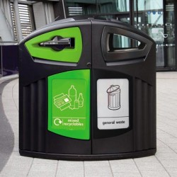 The Nexus 200 Mixed Recyclables / General Waste Recycling Container allows two separate single streams of recycling to be collected in one single waste receptacle....