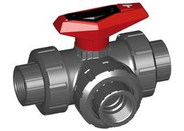 3-Way ball valve type 543 PVC-U Horizontal T-port With threaded sockets Rp image