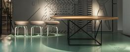 A round table with steel lattice base, polished in LC colours (semigloss grey, green or black) with top innatural oak, black-stained oak or American walnut.  Le Corbusier designed a table in 1958, intended for both home décor and conferences with an organic...