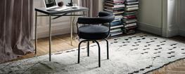 Revolving small armchair with polished trivalent chrome plated (CR3) or semigloss grey, light blue, green, brown, mud and ivory or black enamel steel frame. Available in two versions: with 4 or 5 legs. Back and seat cushion padded with CFC-free polyurethane ...