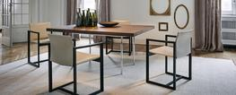 "Rectangular tables with polished trivalent chrome plated (CR3) or semigloss light blue enamel steel frame. Tops in Canaletto walnut, natural oak or black-stained oak thickn. 50 mm (2""), crystal or textured glass thickn. 15 mm (0.6"").  With table-tops comi..."