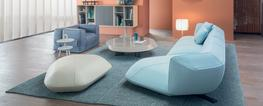 Floe Insel emerged from Patricia Urquiola's desire to create an unforgettable, versatile modular system, inspired by icebergs, whose sculptural, monolithic bulk floats weightlessly on water. A soft mass, made up of different geometries provided by a play of ...