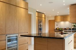 With a carefully considered layout and clear cut lines, a family living in Sevenoaks, Kent, have created a calm and elegant space in the shape of this contemporary oak veneered kitchen by Edmondson Interiors.  After speaking to a number of kitchen designers an...