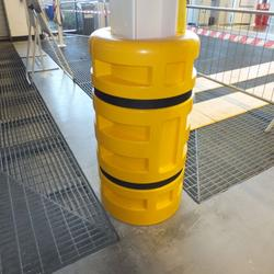 Impact protection for columns and girders. Easy to assemble with no fixings. Fit with velcro straps. Manufactured with a highly flexible and strong polythelene. Available in a range of sizes. Suitable for warehouses, mezzanine floors and carparks...