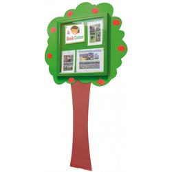 School Fun Theme Ext Noticeboard Tree Wall Mounted 6A4 Green image