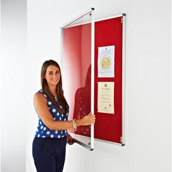 Aluminium framed notice board with tamperproof doors.  Features:  Satin Silver anodised aluminium frame with rounded corners. The doors have a key locking system. The boards overall thickness is 35mm. The board has a quality pin board back covered in a felt fa...