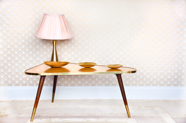 Gatsby Collection Metallic Wallpaper in Brushed Gold and Rose image
