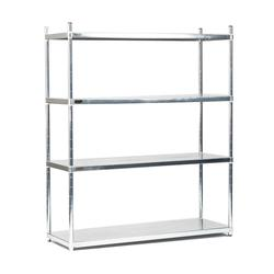 Starter bays consist of 4 posts, the necessary number of shelves and all other necessary fixings. Supplied on adjustable feet as standard, castors available if required.  Extremely versatile solid shelving system suitable for general storage. Made from 304-gra...