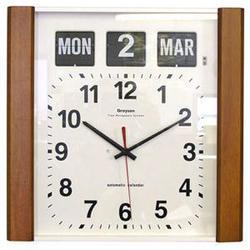 Light Wood Panel Calendar Clock image
