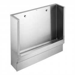 Bespoke made to measure floor standing single piece slab urinal in stainless steel with raised integral channel and hinged access panel for above floor waste plumbing. Available with wall ends or free ends with exposed or concealed flushpipes. Two or more urin...