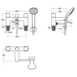 Tempo 2 Hole Bath Shower Mixer image