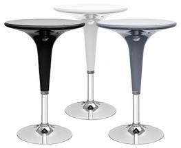 The Mambo Bar Table makes a triumphant return to Feblands as one of our more flexible table models. It has an adjustable height and turn able capabilities. Available in black, grey or white finish. Rotating ABS plastic top. Chrome base....
