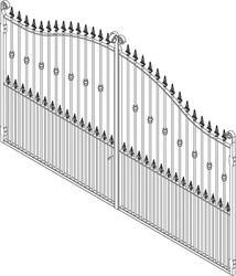 Pair Galvanised Estate Gates - Round Bar 3600mm(W) 2300mm(H)Centre 1900mm(H)Side image
