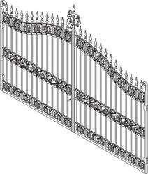 Pair Galv Estate Gates - Sq Textured Bar 3600mm(W) 2300mm(H)Centre 1900mm(H)Side image