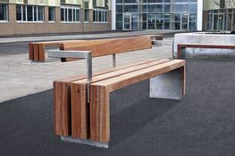 The wood Bloc seat is a very heavy-duty wooden street seat in generously proportioned FSC® certified timber. The slats are suspended above the surface level on a stainless steel frame to prevent ground level rot and enable easy part replacement. The back and ...