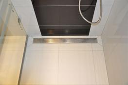 Linear stainless steel WALL shower drains with curved flange 700mm - E.C.T Distribution LTD