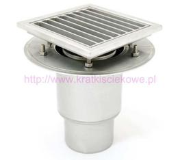 Stainless steel mini telescopic square floor gully 200x200 with vertical outlet image
