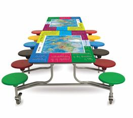 This rectangular folding table seating unit has a unique Smart Top in a choice of themes - endangered animals, world geography and modern history & inventions.  The laminated graphic tabletop is designed to bring fun and facts to the school dining room. The ta...