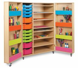 The Bubblegum art storage cupboard is a handy school storage cabinet for all art supplies, designed for use in schools, pre-schools and nurseries.  The Bubblegum art cupboard has 4 shelves on each door which can be used for storing paints and paint brushes. It...
