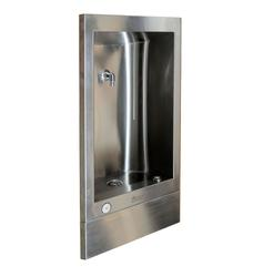 Model 486 is a wall recessed bottle filling station which is hygienic, robust and easily installed at adult or junior height. The bottle filling spout is positioned for ease of use and is activated by a self closing push button valve. The fully recessed design...
