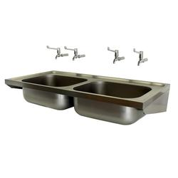 Model 808-SK2 is a hospital pattern (SK2) sink with two sink bowls manufactured in compliance with HBN00-10 (formerly HTM64) for use in hospitals and medical environments.The sink unit is manufactured from 304 grade stainless steel and the two bowls are suppli...