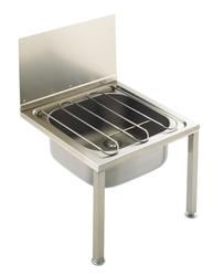 The bucket sink is manufactured in one piece without joints or crevices from grade 304 stainless steel, with all exposed surfaces polished to a satin finish. The bucket sink is produced with integral wall mounting brackets and is supplied an unslotted flush gr...