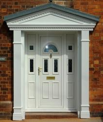 Produced in standard or non-standard overall widths from 2438 mm to 4267 mm with a standard overall projection of 1371 mm. The circular centre of pediment remains a constant size of 1975 mm wide and is supplied complete with Doric columns and matching wall pil...