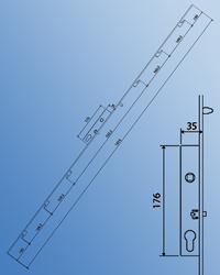 6 Point Inline Sliding Door Lock & Keep Set image