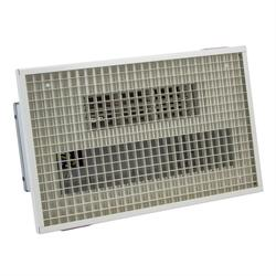 Recessed  fan heater for use as overdoor heater or general commercial space heater Ideal for shops and a wide range of commercial premises Visually unobtrusive as only the white egg-crate grille is visible Optional controller for variable output and fan only s...