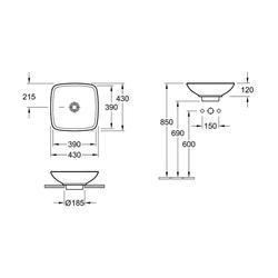 Zoli Square Countertop Basin (VBSW-90-3578) image