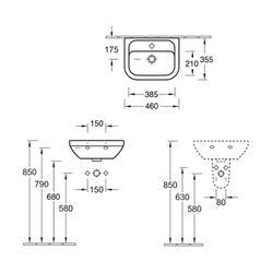 D-Style Compact Handwash Basin 460x355mm (VBSW-20-3242) image