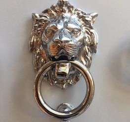 LION HEAD DOOR KNOCKER – CHROME image
