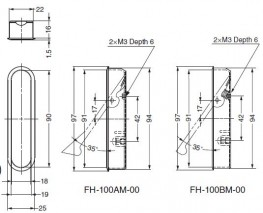 FH-100M - Recessed Lever Pull ('Stay' and 'Return' Types) - Sugatsune Kogyo UK Ltd